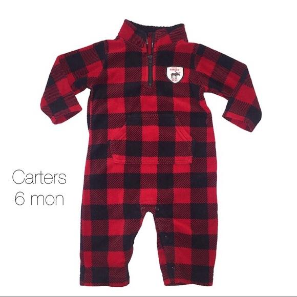 90a851524 Carters Red Black Plaid Fleece Outfit 6 Mon